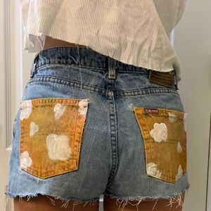 custom painted vintage Ralph Lauren jean shorts